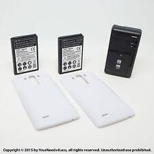 2 x 6800mAh Extended Battery for LG G3 D855 VS985 White Cover Dock Charger