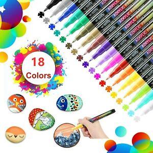 18 Color Set Acrylic Paint Marker Pens Permanent Art Rock Metal Glass Pebble UK