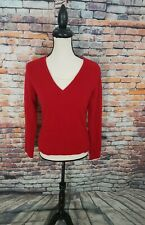 Colour Works Long Sleeve Red Beige Layer V-Neck 100% CASHMERE Pullover Sweater S