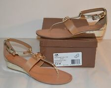 New $188 Coach Ines Mirror Metallic Leather Platinum/Natural Wedge Sandal Thong
