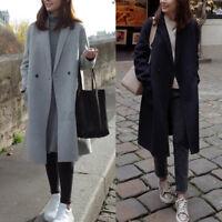 ZANZEA Damen Trenchcoat Winter Mantel Elegant Lang Jacke Outwear Wollmantel Coat
