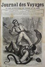 JOURNAL DES VOYAGES N° 37 de 1878 ATTAQUE COBRA / CHASSE AU LION / COURSE PONEYS
