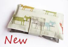Handmade nappy wipe changing pouch holder bag - polka dots on Grey & Foxes