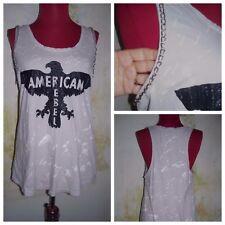 "Rock & Republic "" American Rebel "" Chain Accent Dyed Glitter Eagle T-Shirt Top L"