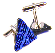 Cuff Links DICHROIC Fused GLASS Blue Cobalt Navy Striped Ripple Mens Formal Wear