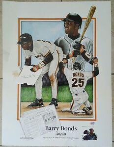 BARRY BONDS Autographed San Francisco Giants Lithograph 40/40. PSA