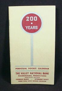 THE VALLEY NATIONAL BANK, CHAMBERSBURG, PA - PERPETUAL POCKET CALENDAR
