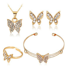 Wonderful Butterfly Rhinestone Pendent Necklace Earrings Bangle Ring Jewelry Set
