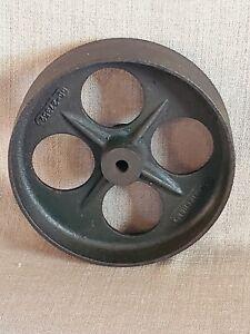 "Vintage Antique 8 1/2"" CUNNINGHAM Cast Iron Industrial Cart Wheel"