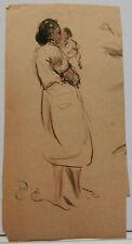 Aquarelle Original  PAUL COUVREUR - Portrait Femme Enfant - vers 1930 - PC103