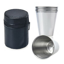 1Set of 4 PC Stainless Steel Cup Mug Drink Coffee Tea Beer Cup Tumbler Wineglass