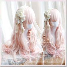 Cosplay Harajuku Sweet Lolita Pink Gradient Wig Daily princess Long Curly Fairy