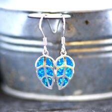 Lab Made Blue Opal Leaf Earrings Sterling Silver 925  October Birthstone Canada