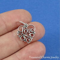.925 Sterling Silver SCRIPT LOVE WORDS CHARM Heart Romantic PENDANT