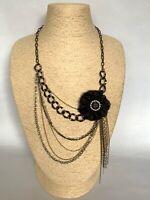 Black Gold Tone Necklace Multi Strand Chain Flower Statement Arty Goth Steampunk