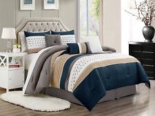 11-Pc Jasper Pleated Square Comforter Curtain Set Navy Beige White Gray King