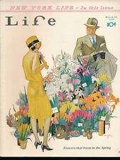 LIFE March 29, 1929 Humor Magazine HOLMGREN Flapper at Flower Stand Cover
