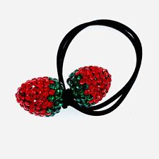 Strawberry Hair Rope Wrap use Swarovski Crystal Ball Hairpin Ponytail Holder Red