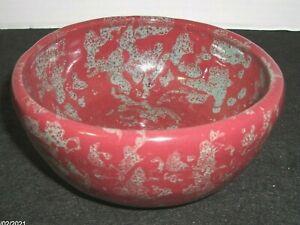 Vtg. Bybee Pottery Burgundy Spongeware Bowl EUC