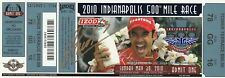 2010 HELIO CASTRONEVES signed INDIANAPOLIS 500 NEW FULL TICKET INDY CAR gold tb