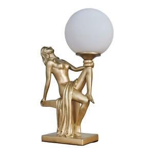 MiniSun Table Lamp - Art Deco Woman Holding Frosted Glass Globe Light LED Bulb