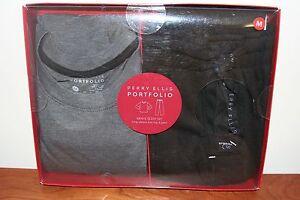 Perry Ellis Portfolio Men's PJ Sleep Set Shirt Pant 864159 Gray/Black Medium M