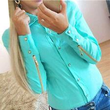 Women Clothes Chiffon Shirt Long Sleeve Shirt Casual Blouse Formal Collared Tops
