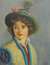 VINTAGE ORIGINAL 1930s DECO PAINTING OF YOUNG WOMAN BY FERMIN SANCHEZ