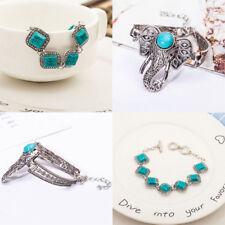 Retro Oval Crack Turquoise Bead Silver Carved Open Bracelet Bangle Boho Jewelry
