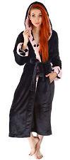 Women's Loose Warm Long Night-robe Sleepwear Shawl Collar Bathrobe Spa Robe