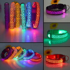 LED Dog Collar Nylon Leopard Print Flashing Luminous Adjustable Safety Light Tag