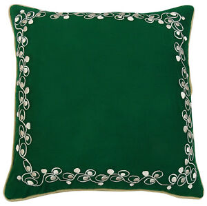 Green Floral Embroidered Home Decor Square Throw Cotton Sofa Cushion Cover