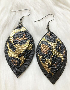 Leopard & Brown Embossed Vegan Faux Leather Earrings Triple Layer