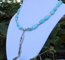 """18"""" Handmade Magnasite Necklace with Turquoise and Enamel Inlay Pendant"""