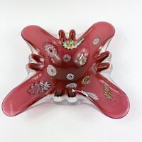 Vintage Murano Art Glass Red Hand Blown Millefiori Glass Ashtray Candy Dish 8""