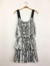 aa94fbbafb1 TBAGS LA Sleeveless Satin Marble Print Ruffle Mini Dress Grey White S  215  B7