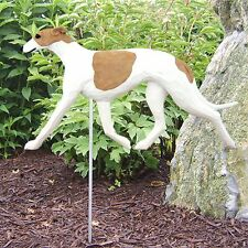 Greyhound Outdoor Garden Sign Hand Painted Figure Fawn/White