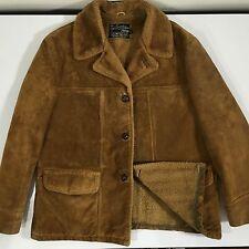 Vtg 60's Sears Men Brown HEAVY SUEDE Leather RANCHER Coat Fleece LINED Jacket 44