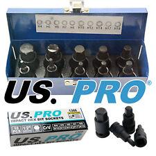 "10pc IMPACT HEX BIT SOCKET SET By US PRO TOOLS 1/2"" Drive 4mm to 19mm Allen Key"