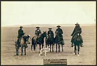 """1887 photo,Cowboys Roping, Grey Wolf, Hunting, Horses, Western, 16""""x11"""" OLD WEST"""