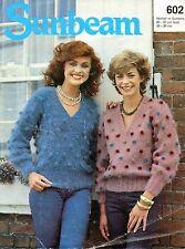 ~ Sunbeam Knitting Pattern For Lady's V-Neck Bobble Design Mohair Sweater ~