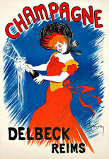 Champagne Delbeck Reims  Drink Alcohol Drinks Pub Bar Chic Deco   Poster Print