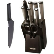 9 PIECE MTECH USA STAINLESS STEEL PROFESSIONAL KITCHEN KNIFE SET w/ WOOD BLOCK