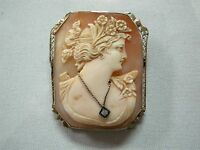 BEAUTIFUL ANTIQUE 10K Y/G CARVED CAMEO BROOCH PIN PENDANT WITH LADY & DIAMOND
