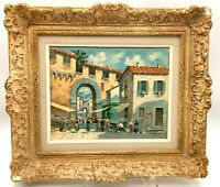 Antique Oil Painting - Southern Europe - Artist Signed - Market Town Square