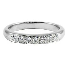 Platinum 900 Round Diamond Band Ring Wedding Anniversary .31 TCW 6.4g Sz 7.75