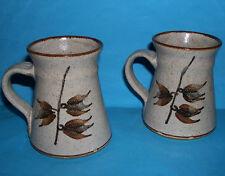 Twentypence Studio Pottery Wilburton Ely - Attractive Pair of 'Leaf Design' Mugs