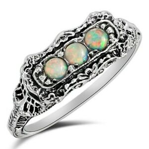 1CT Natural Fire Opal 925 Solid Sterling Silver Ring Jewelry Sz 8, FL15