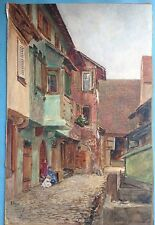 Gouache Gemälde Altstadt Idylle Riquewihr? Reichenweier Elsass Richard Lipps ~10