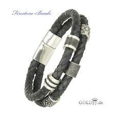 Herren Leder-Armband geflochten Luxus CNC Firestone-Beads Verschluß Edelstahl